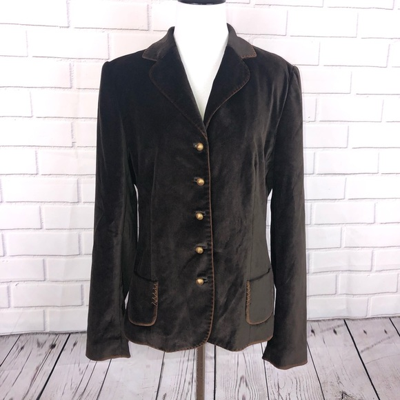 aaa1f3cba ELIE TAHARI Brown Velvet Blazer Jacket Sz 14